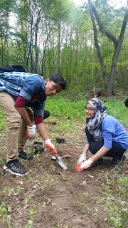 Walid Ahmed and Tahmina Keya, also a tenth grader, volunteer during Forest Restoration Volunteer Days.